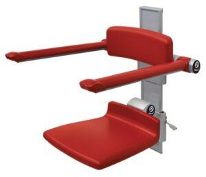 כיסא מתקפל עם משענת גב וידיות על מסילה