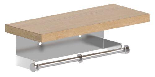מתקן לגלילי נייר טואלט עם מדף עץ